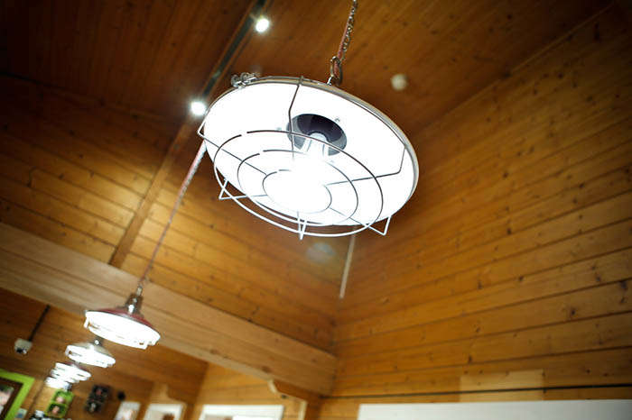 Ceiling light at Bedgebury Cafe